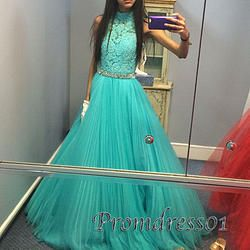 #promdress01 prom dresses - 2015 Cute high-neck open back green lace chiffon pleated prom dress for teens, ball gown,occasion dress #prom2015 #promdress -> www.promdress01.c... #coniefox #2016prom