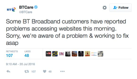 There is a BT Internet / Broadband outage today on July 20 and customers are coming forward to report the issues on sites such as 'Down Today', which allows customers to share their service status with others.