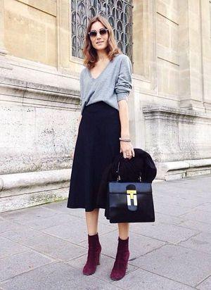 gray top,black midi skirt,black square bag,burgundy short boots