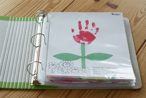 Love the idea of keeping art work in a binder. Easy to flip through and shows their progression too.