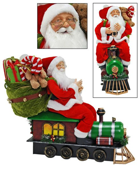 "Katherine's Collection Cuckoo Christmas Collection Approx 25"" Santa On Train Doll Free Ship"