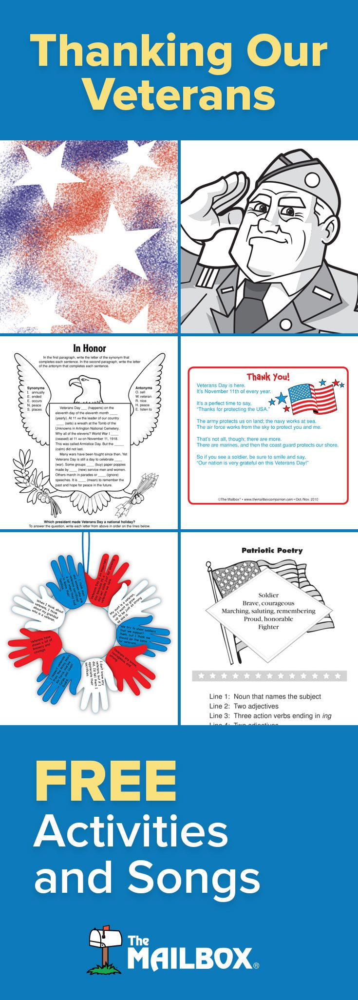 Find FREE craft ideas, informational passages and more at The Mailbox! #veteransday #themailbox #teaching