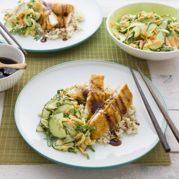 Chicken Katsu on Brown Rice with Asian Slaw By Nadia Lim