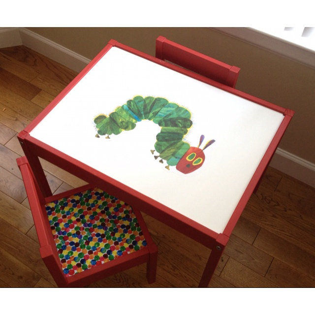 Ikea Latt kids' table done Very Hungry Caterpillar style for first birthday present. Our take on an Ikea Latt hack. :-)