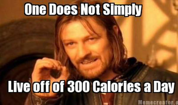 Laugh Your Abs Off With These Fitness Posters #17: One does not simply live off 300 calories a day.