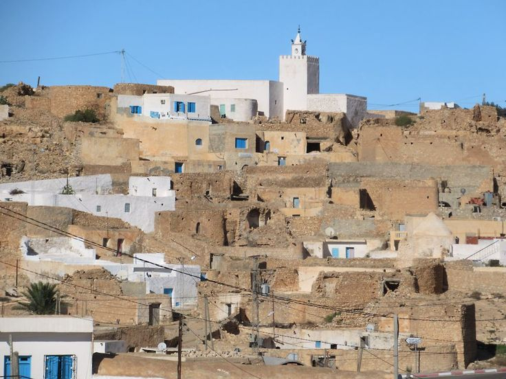 A mineret crowns a hilltop in Tamezret village in southern Tunisia.