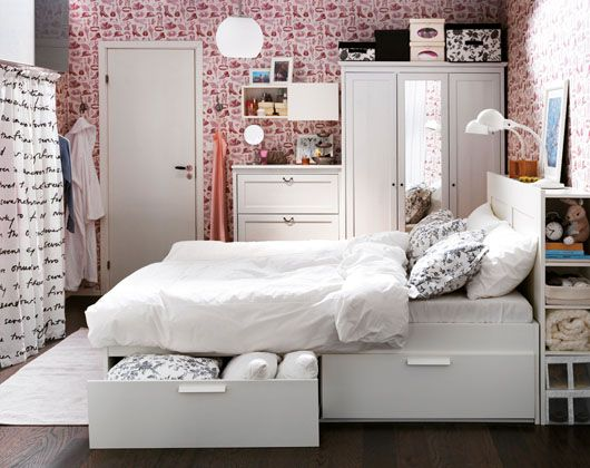 bett und kopfteil brimnes von ikea via ikea home network. Black Bedroom Furniture Sets. Home Design Ideas