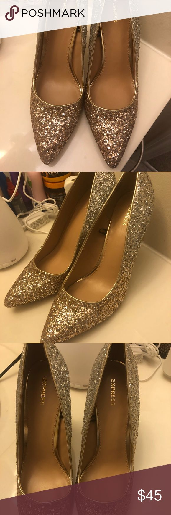 💎💎Ombré Sequins Heels💎💎 New Year ready 💎💎Ombré Sequins Gold Silver heel💎💎 These will definitely make a statement. Worn once Express Shoes Heels