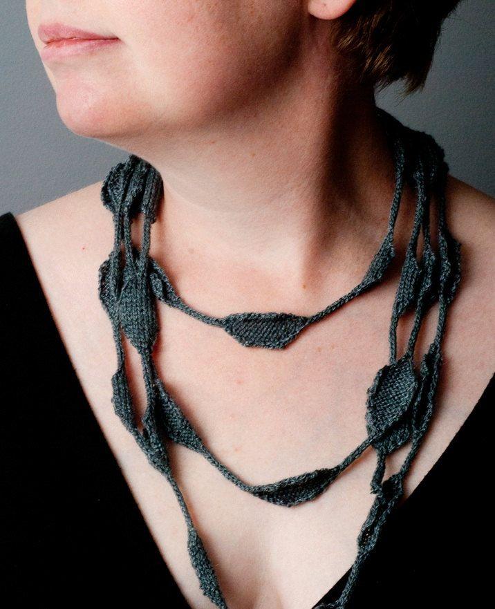 Necklace Scarf Knitting Pattern PDF - DIY Fiber Jewelry Design