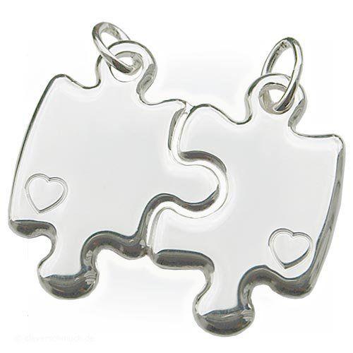 CLEVER SCHMUCK Partneranhänger Puzzleform mit Herz ECHT SILBER 925   Your #1 Source for Jewelry and Accessories