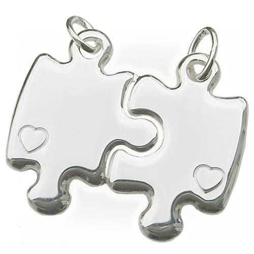 CLEVER SCHMUCK Partneranhänger Puzzleform mit Herz ECHT SILBER 925 | Your #1 Source for Jewelry and Accessories