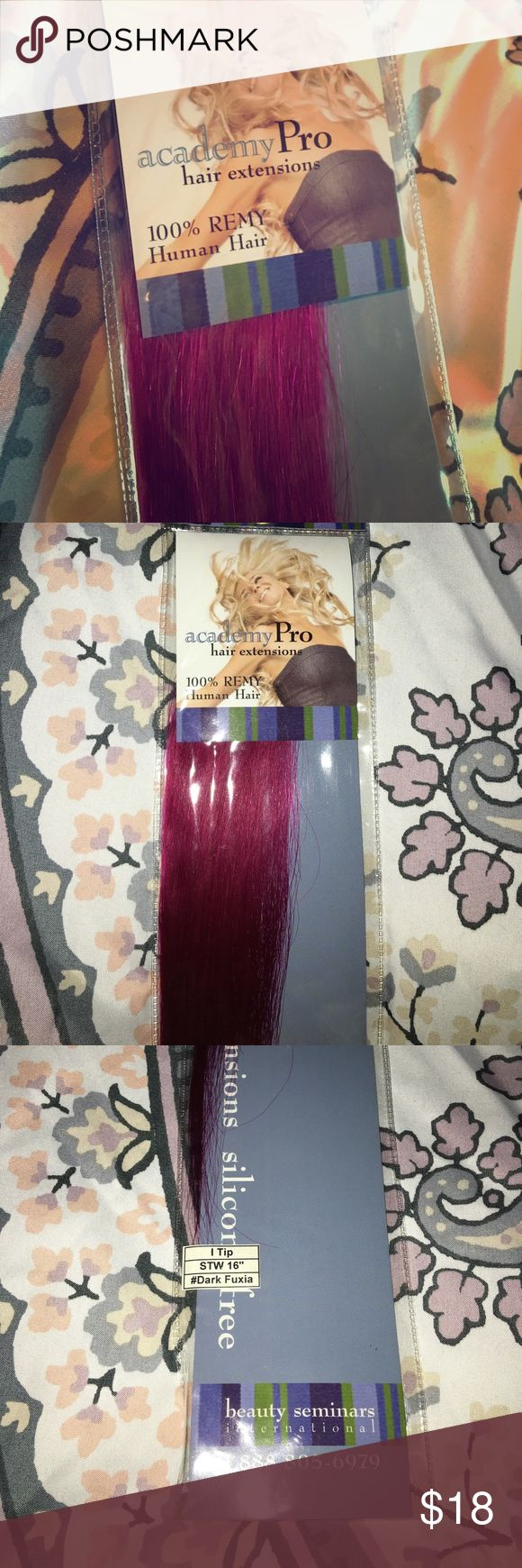 Academy Pro Hair Extensions 100% REMY human hair extensions. Silicone free. Dark Fuchsia. Adorable never used hair extensions. Great to add some fun into your hair without the commitment of dyeing your real hair pink. Makeup