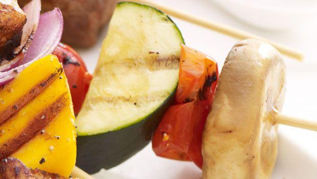 Summer Vegetable Kebabs with Basil Parmesan Dip | …