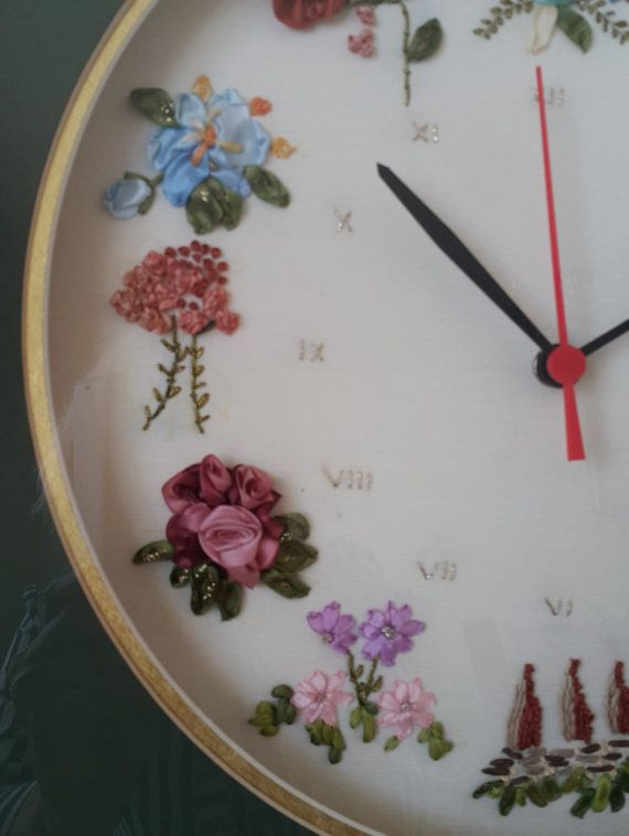 Clock - ribbon embroidery - ribbon embroidery clock- s special product…