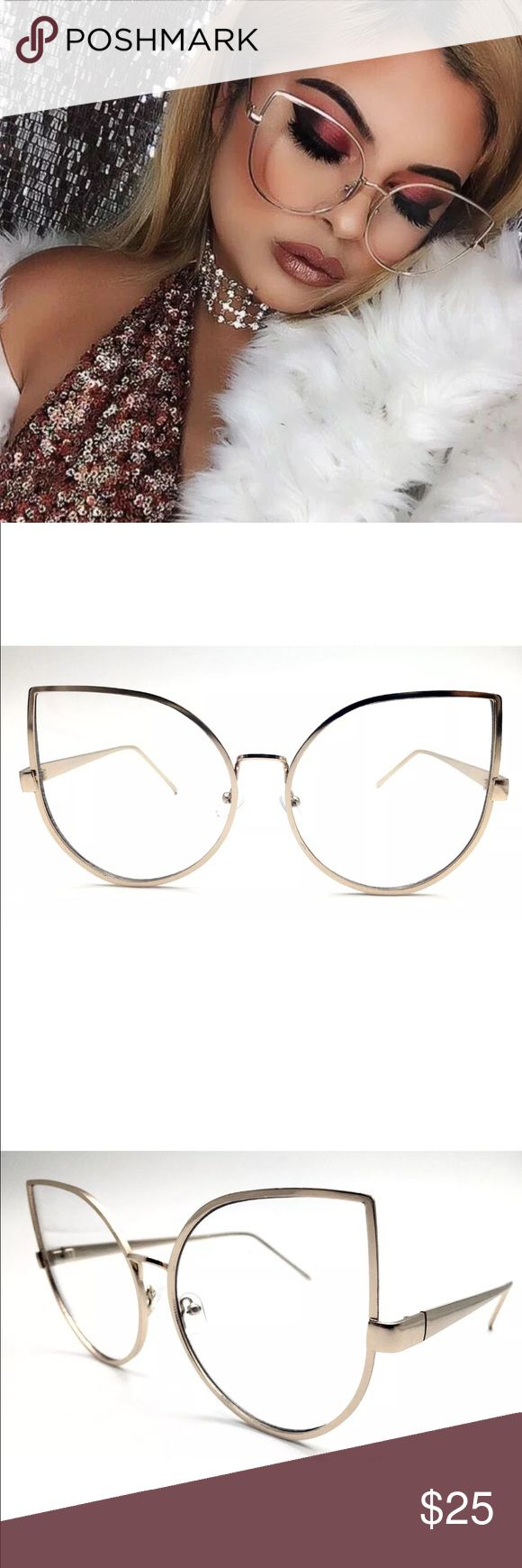 New✨ Oversized Cat Eye Clear GOLD Glasses ✨ NO- Offers‼️ PRICE IS FIRM❗️  New Fashion Trend- super cute Oversized Black Frame Clear Glasses ✨  ✨Fashion Accessory  Brand New✨ PRICE IS FIRM- already listed at lowest price  If you want to save please look into bundling  In Stock No Trades Will ship same day as long as order is received by 1:00pm PST  Serious Inquiries Only❣️  Bundle one or more items from my boutique to only pay one shipping fee and SAVE Money❣️ Accessories Glasses