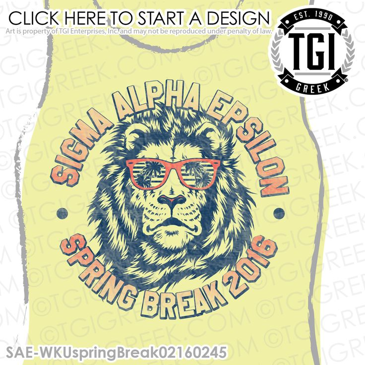 TGI Greek - Sigma Alpha Epsilon - Spring Break - Greek Apparel #tgigreek #sigmaalphaepsilon