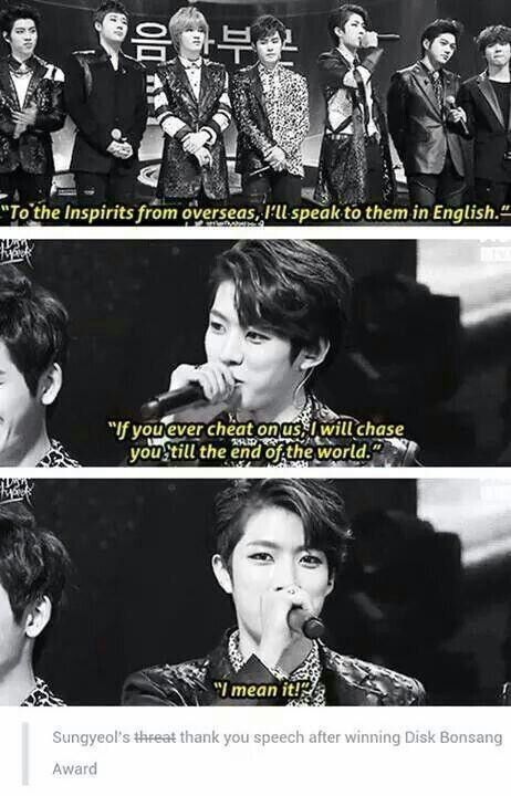 Lol Sungyeol threatening the fandom