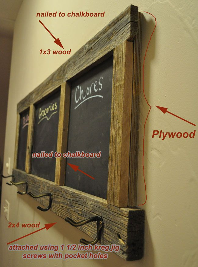 FREE DIY coat rack chalk board plans
