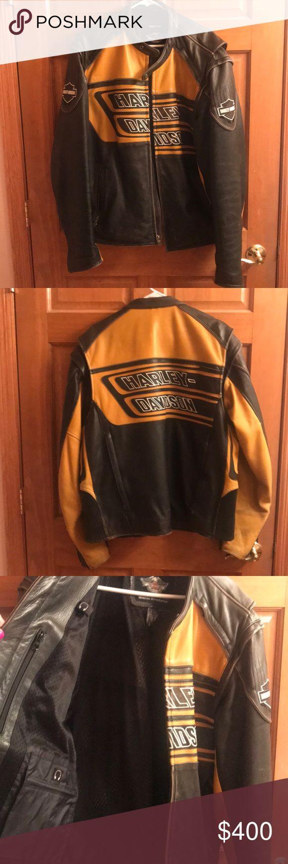 Men's Harley Davidson leather jacket Yellow and black leather men's Harley Davidson jacket Harley-Davidson Jackets & Coats