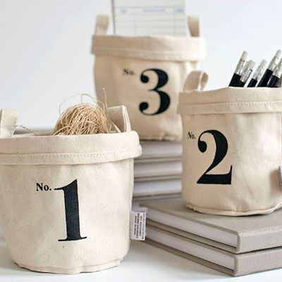 Recycled canvas buckets.