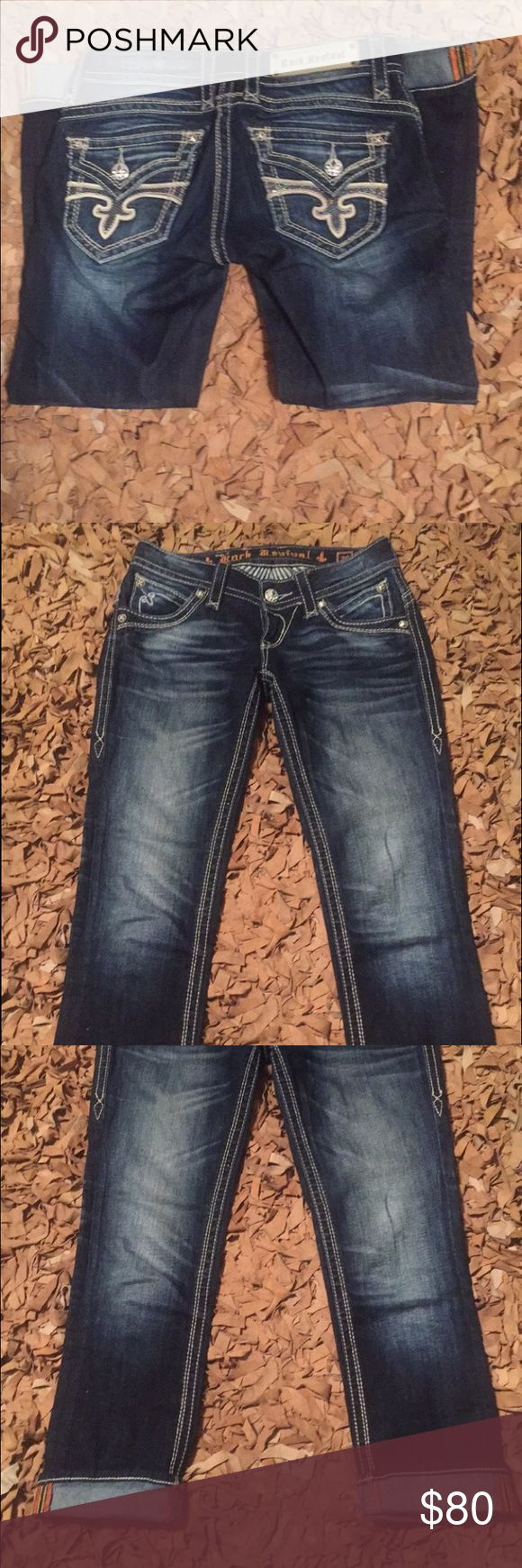 Rock Revival Dark wash Capri Rock revival dark wash Capri, worn twice, size 26 Rock Revival Jeans Ankle & Cropped