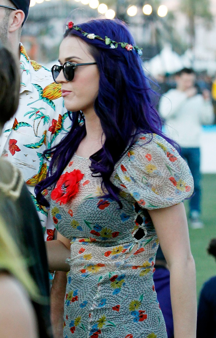 **Katy Perry New Hair** Katy Perry Seen at the Coachella music festival this weekend, where she showed off her new purple hair, this is the 7th colour change in just a few months she has been black, red, blonde, lavender, blonde again & mostly recently blue, So the questions is What is your favorite colour ?follow our Facebook page for all the up to date celebrity hair news facebook.com/agsalons