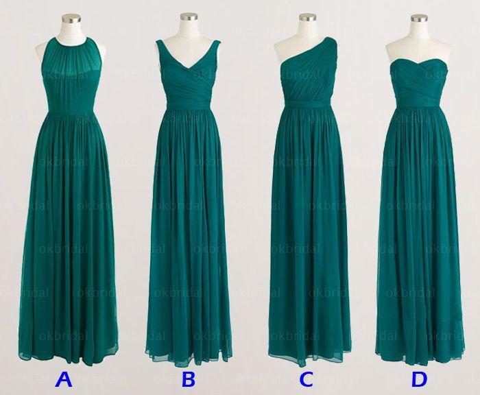 Teal Bridesmaid Dress, Long Bridesm