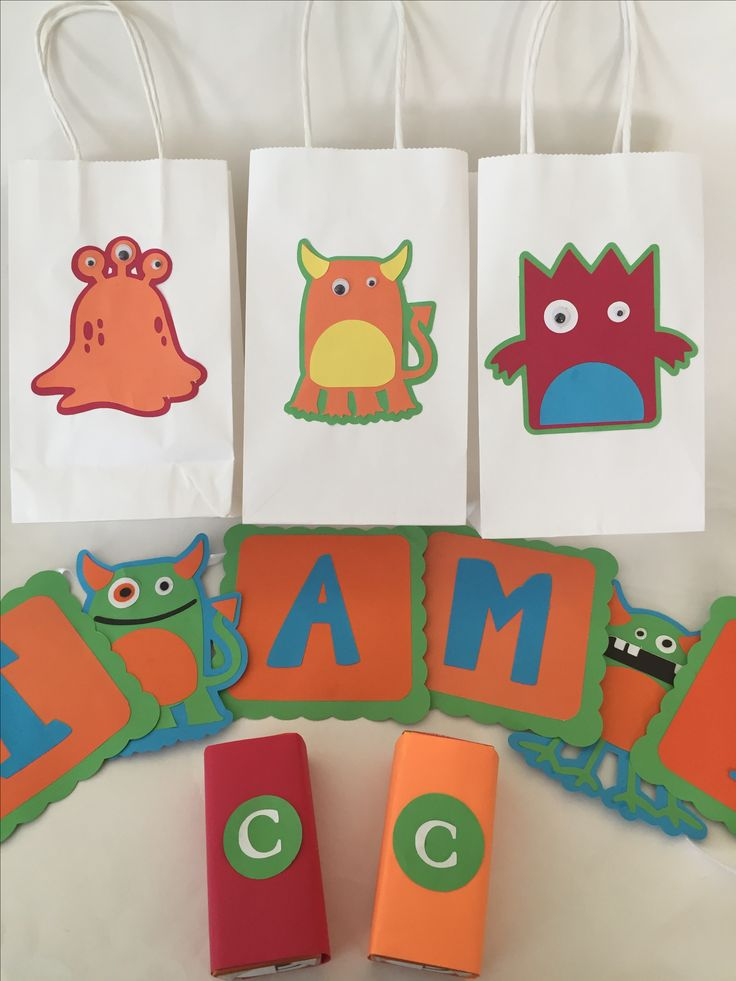 Little Monsters Party Favor Bags & Birthday Banner I Created for a 1st Birthday Party