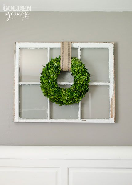 boxwood wreath over old window, I love the beautiful simplicity of this look