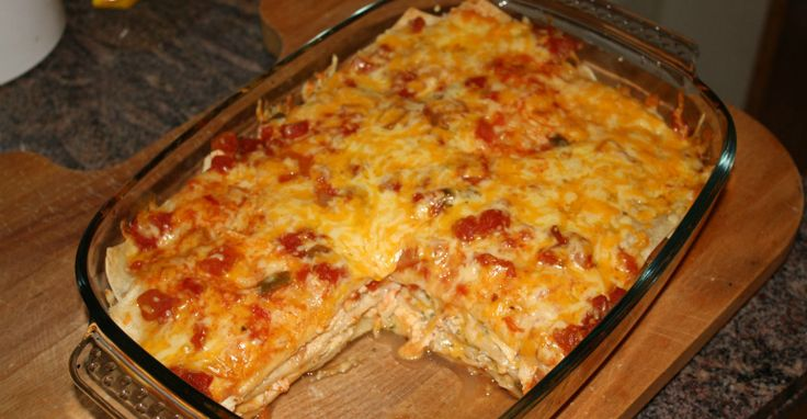 This enchilada casserole is perfect to feed a large crowd during the big game!