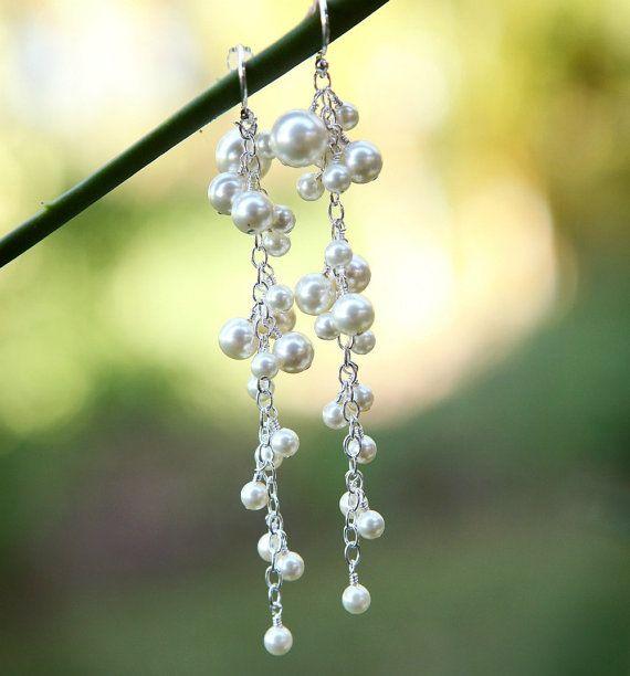 Long Pearl Bridal Earrings. Dangle White Pearl Earrings. Vintage Style Wedding Earrings. Wedding Jewellery. Ivory Pearl Jewelry