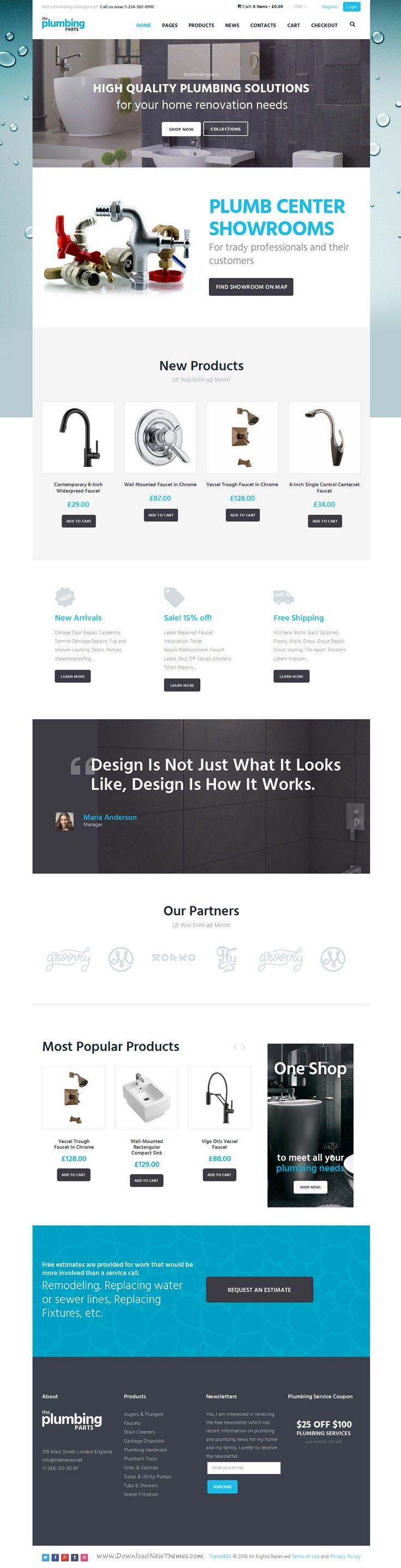 Beautiful responsive WordPress #eCommerce theme for any home repair and maintenance business: #plumbing, carpentry, remodeling & renovation, construction #website. Download Now!