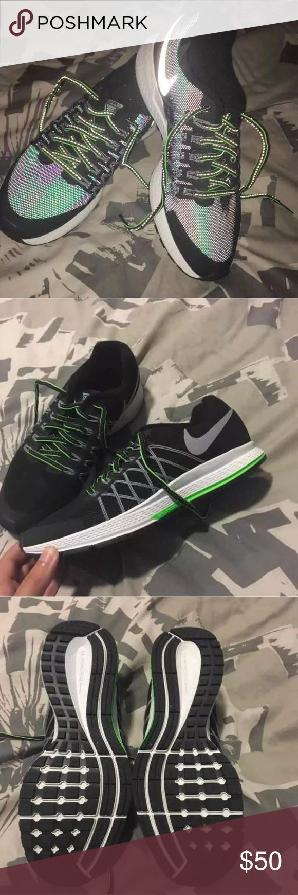 Nike Zoom Pegasus Shoes Size 6.5Y which is the same as a women's 8 according to the size chart on the Nike website.  H2O Repel, NIKE ZOOM PEGASUS 32 Black, white, green First and last picture taken with flash Nike Shoes Athletic Shoes