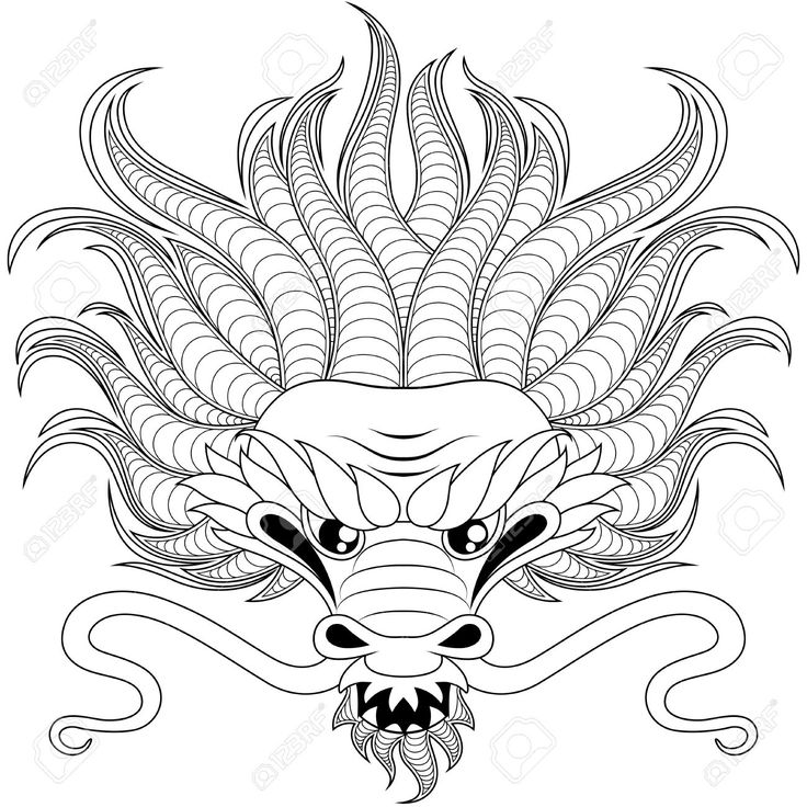17 best images about coloring pics on pinterest mandala for Chinese dragon face template