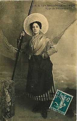 """Boulogne sur Mer France 1911 Sinful Woman Costume Antique Vintage Postcard Boulogne sur Mer France 1911 Woman in """"sinful costume"""" with a fishing net behind her. Used antique vintage postcard with canc"""