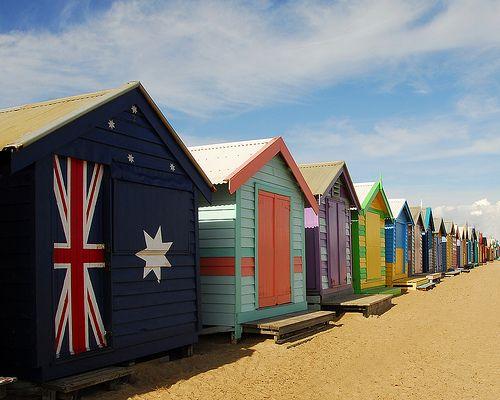Aussie beach huts ~ Brighton, Melbourne, Australia