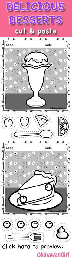 Fun activities aimed at developing early learners fine motor skills by cutting and pasting irregular shapes.