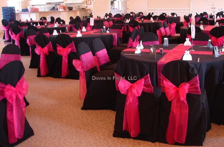 Pink and black chair covers