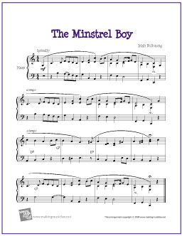 The Minstrel Boy | Free Sheet Music for Harp - http://www.makingmusicfun.net/htm/f_printit_free_printable_sheet_music/minstrel_boy_harp.htm