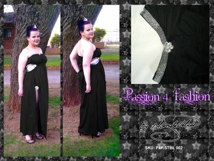 Boobtube, underbust ruged, flowy dress. Middle leg slit and side tummy opening with silver detail.