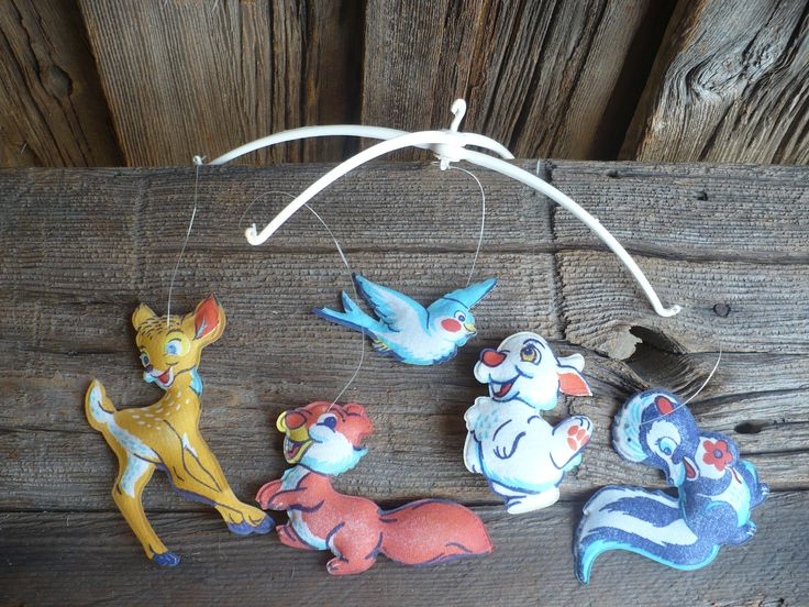 Vintage Mobile, Vintage Baby Crib Mobile, Nursery Decor, Woodland Animal Mobile by TheEarlyBirdFinds on Etsy