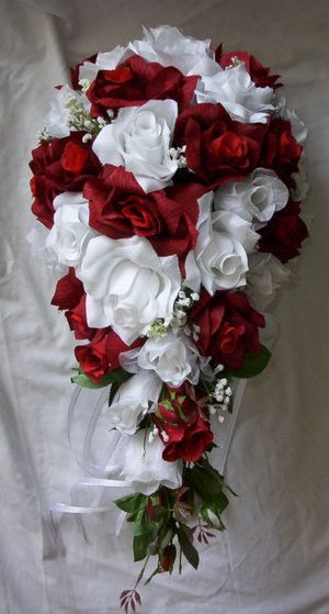 Cascade wedding bridal bouquet red and by VictoriaSilkDesigns