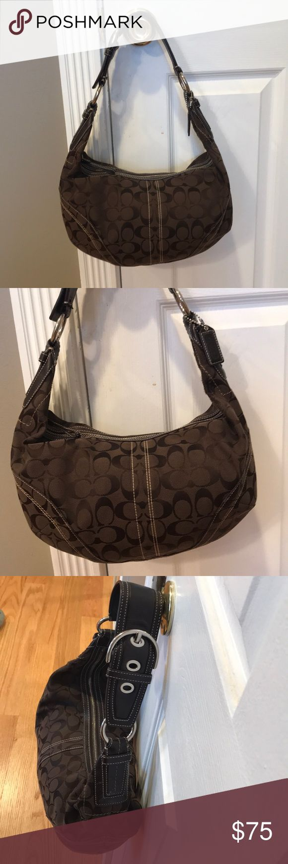 """Authentic Coach Jacquard Hobo Shoulder Bag Authentic Coach Jacquard Hobo Shoulder Bag  Dark brown interior. Signature Jacquard fabric with leather trim, Zipper interior pocket, closed top with zipper.   Hardly ever worn, pristine condition.   Comes in original duster bag.   9"""" x 16"""", Strap drop 10"""" Coach Bags Hobos"""
