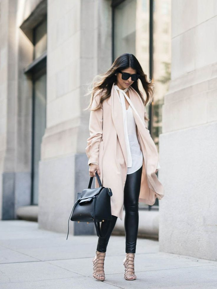 A blush trench with a skinny scarf top, coated leggings, and caged heels.