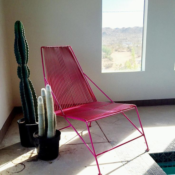 Lounge chair I made in my furniture welding class which was powder-coated and then matching strings were added.  #DIYfurniture #welding #weldingclass #loungechair #weldedfurniture #outdoorfurniture #iheartconstruction #poolroom #poolfurniture #desertliving #landers #California #designer #interiordesigner #interiordesign #interior