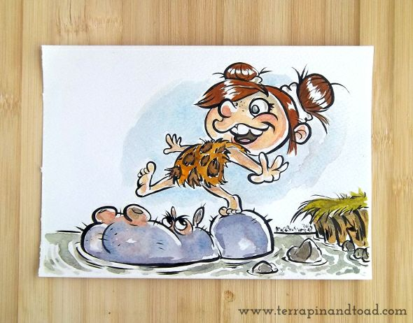 Terrapin and Toad: Sketchbook doodles - Cave Girl With Hippo #terrapinandtoad
