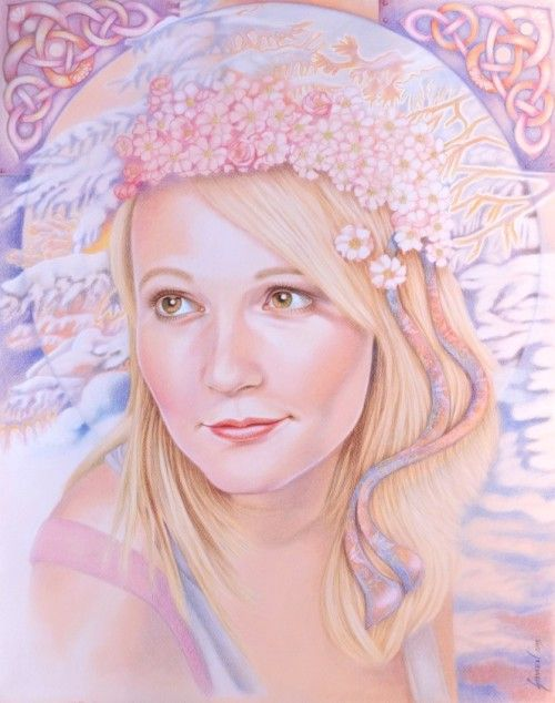 Verunka, December Blossoms / Commission Portrait / Colored Pencils / 19.5 x 25 in #art #artportrait #colorpencils