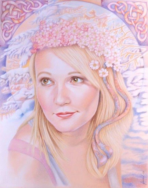 Verunka, December Blossoms / Commission Portrait / Colored Pencils / 19.5 x 25 in #art #artportrait #colorpencils