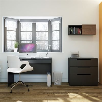 Nexera 400600 Next Desk with Filing Cabinet and Wall Unit