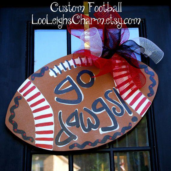 Door Hanger: Georgia Bulldogs Football, Wooden Football Door Decoration, Go Dawgs on Etsy, $45.00
